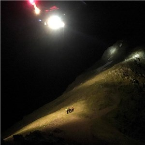 Rescue 936 prepares to winch casualty from Bwlch