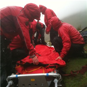 Llanberis Mountain Rescue strecher loading